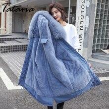 Tataria Chaqueta de plumón para mujer, abrigo de invierno con cuello de piel grueso, Parks largos, para invierno