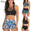 Sport High Waist Bikini Women Swimwear 2020 Sexy Crop Top Plus Size Swimsuit Swimming Suit Bathing Suit Bikini Set With Shorts 1