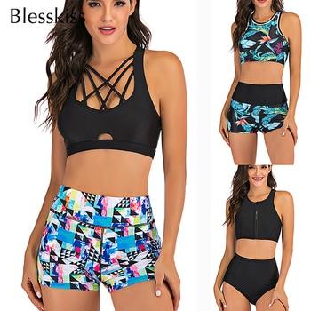 Sport High Waist Bikini Women Swimwear 2020 Sexy Crop Top Plus Size Swimsuit Swimming Suit Bathing Suit Bikini Set With Shorts 1