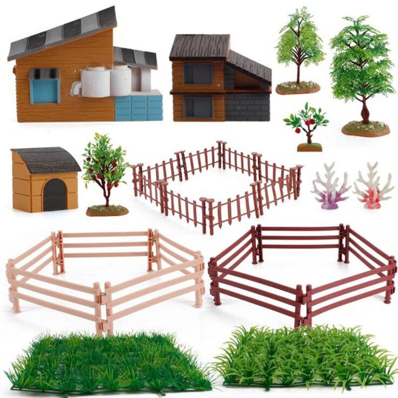 Children's Educational Toys Simulation Desktop Micro-Landscape Farm Model DIY Ornaments House Fruit Tree Water Grass Fence Gift