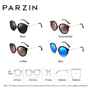Image 2 - PARZIN Luxury Brand Retro Round Women Sunglasses High Quality Polarized Ladies Sun Glasses For Driving