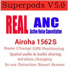 Anc híbrido ativo duplo do cancelamento de ruído do mic do anc de superpods v5.0 tws airoha 1562s com sensor esperto da mudança do nome de posicionamento