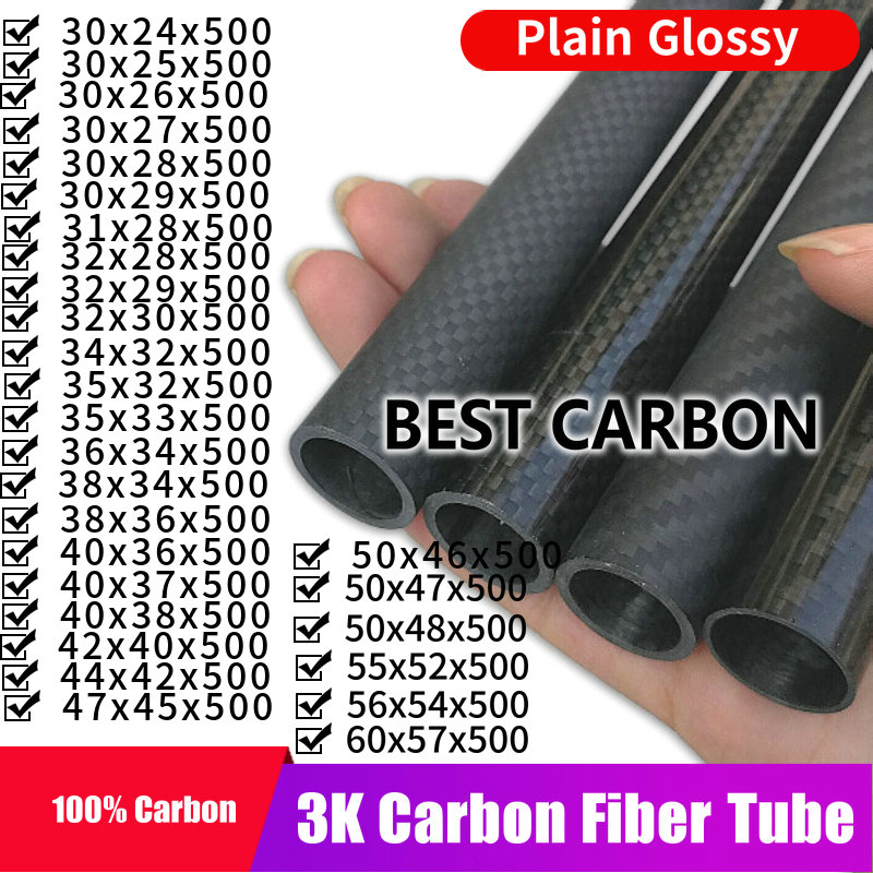 Free Shiping30 31 32 34 35 36 38 40 42 44 47 50 55 60mm,500mm Length High Quality Plain Glossy 3K Carbon Fiber Fabric Wound Tube