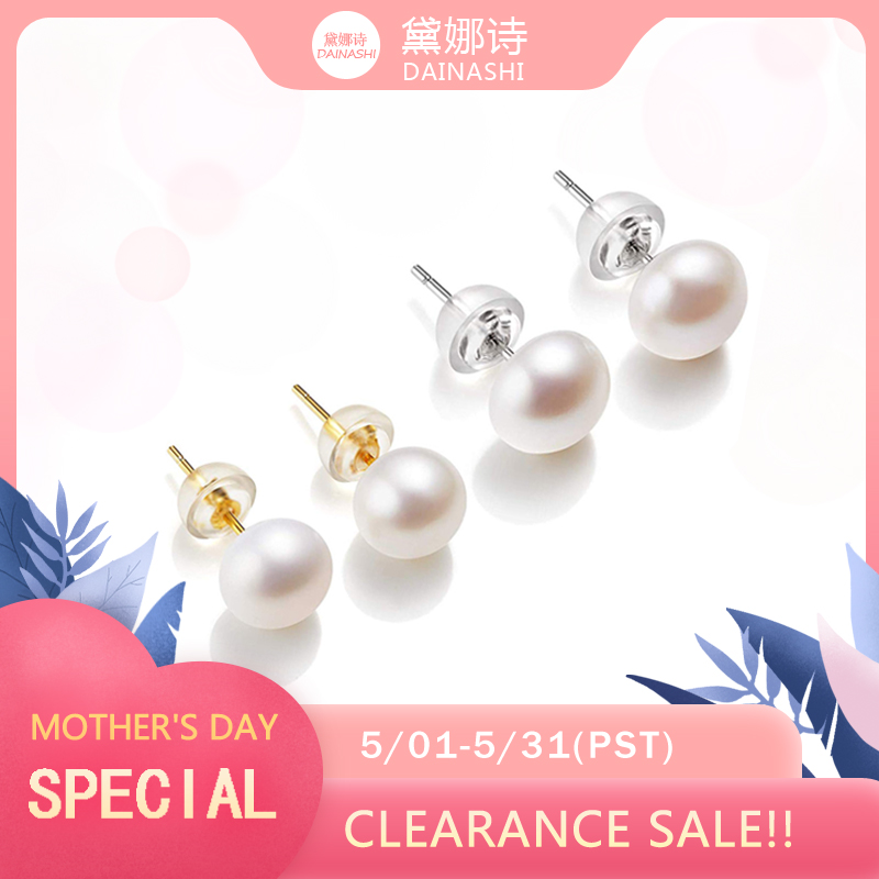 Clearance!!  AAAA High Luster White 6-11mm 100% Cultured Freshwater Pearl Stud Earrings For Women,Sterling Silver Women Earrings