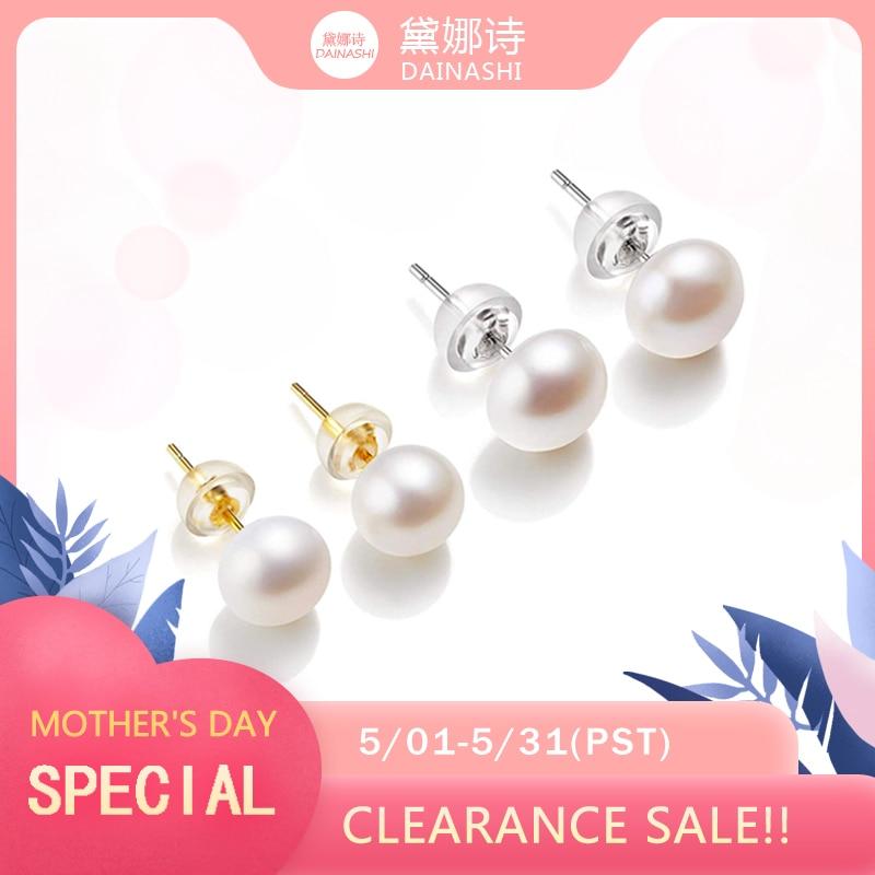 Clearance!!  AAAA High Luster White 6-11mm 100% Cultured Freshwater Pearl Stud Earrings For Women,Sterling Silver Women Earrings
