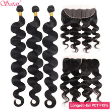 Satai Body Wave Bundles With Frontal M Remy Brazilian Hair Bundles With Frontal 100% Human Hair 8-30inch 32 34 36 inch Bundles(China)