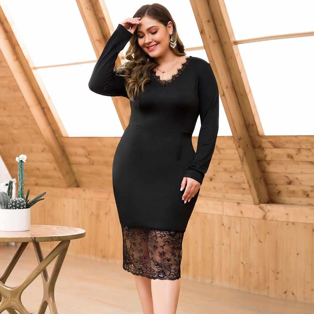 Noir grande taille femmes robe élégante col en v dentelle Patchwork robes de couture décontracté manches longues taille haute 4XL Vestidos # YL5