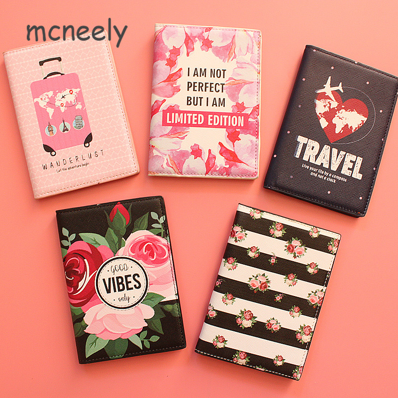 Fashion Men Women Travel Leather Passport Holder Card Case Protector Cover Floral Wallet Bags Flower Passport Cover For Girls