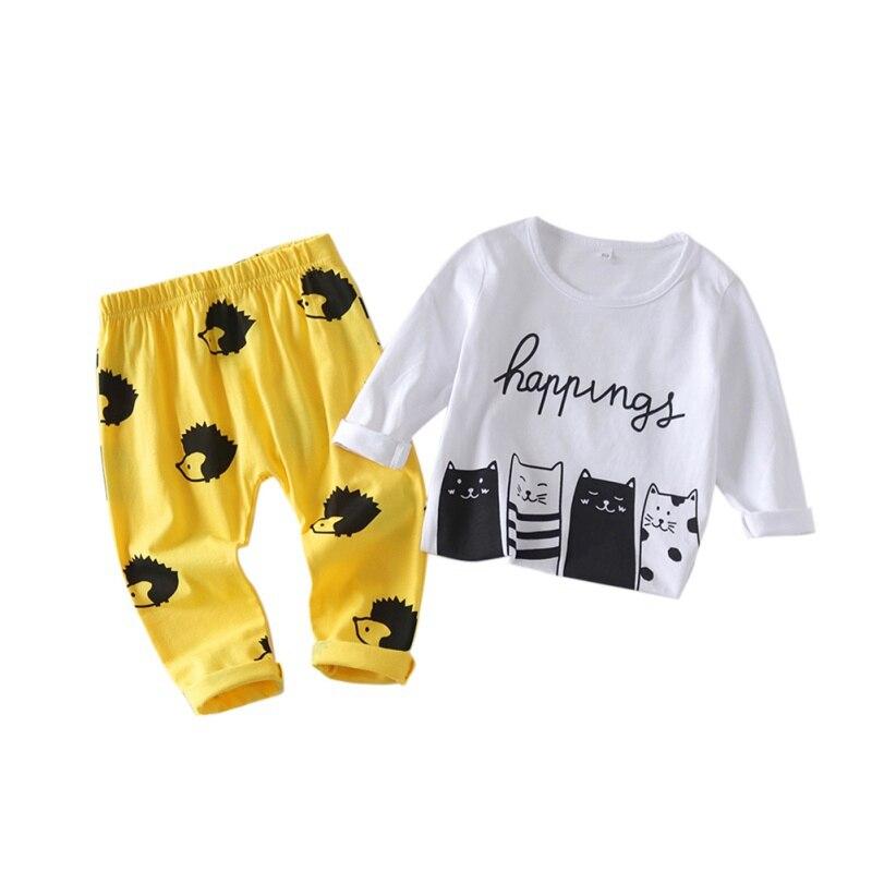 Kids Baby Girls One Picece Dress Long Sleeve Cartoon Skirts Cotton Costume 0-4T