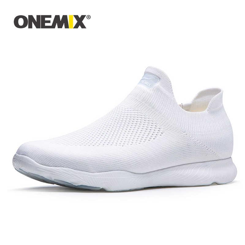 ONEMIX 2020 הגעה חדשה גברים ספורט סניקרס גרב נעלי רשת לנשימה מאמני קל להחליק על Tenis נעלי הליכה Sneaker