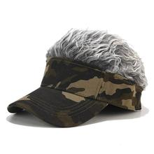 Sun Visor Cap Wig Peaked Adjustable Wig Camouflage Golf Wearing Wig Baseball Cap 2019 Cool Hair Color Fashion Cap For Men hot new fashion novelty baseball cap fake flair hair sun visor hats men s women s toupee wig funny hair loss cool gifts golf cap