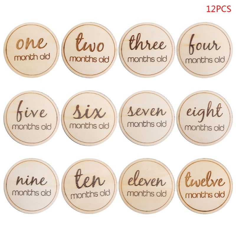 12 Pcs/set Baby Monthly Milestone Wooden Card Infants Photography Props Kids Newborn Shower Gifts