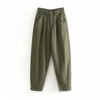catonATOZ 2248 Khaki Female Cargo Pants High Waist Harem Loose Jeans Plus Size Trousers Woman Casual Streetwear Mom Jeans 9