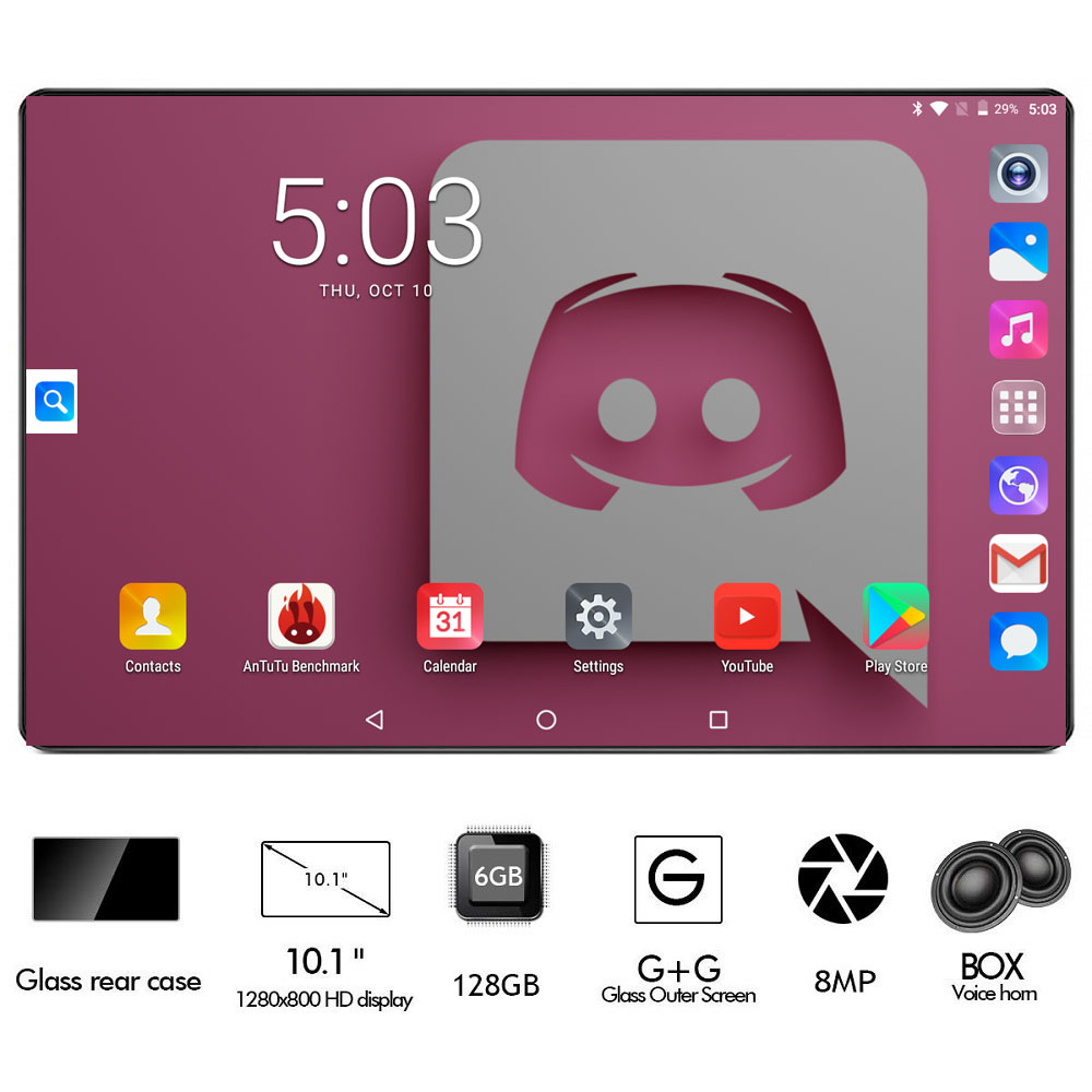 Black Tablet 6GB + 128GB Tablet 2.5D Glass 10 Inch Tablet Android 8.0 Octa Core 1280x800 HD IPS 4G LTE GPS WIFI Tablet 10 Gifts