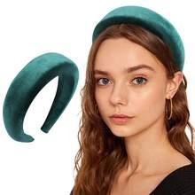 Vintage Velvet Padded Headbands for Women Wide Bezel Hairbands Non-slip Thick Hair Hoop Girls Sponge Hairband Hair Accessories