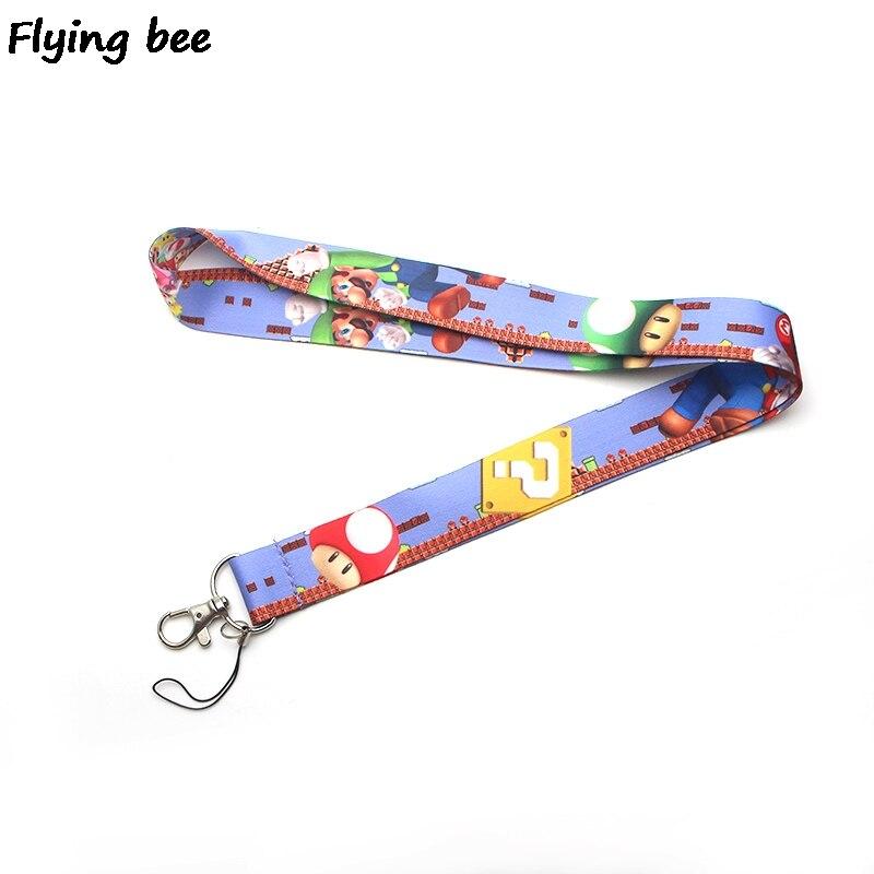Flyingbee Kawaii Game Mario Bros Lanyard Keychain Keys Holder Women Strap Neck Lanyards For Keys ID Card Phone Lanyard X0371