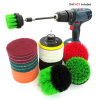 18Pcs/set Drill Brush Kit Power Scrubber Brush Scouring Scrub Pads For Bathroom kitchen cleaning tool