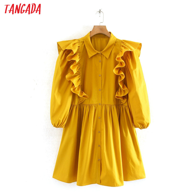 Tangada Summer Fashion Women Yellow Pleated Mini Dress Short Sleeve Ladies Vintage Office Lady Dress Vestidos 2W110