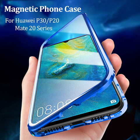 Cases For Huawei P30 P20 Lite Mate 20 Pro P Smart 2019 Case Magnetic Adsorption Metal Tempered Glass Back Cover For Huawei P30 Pakistan