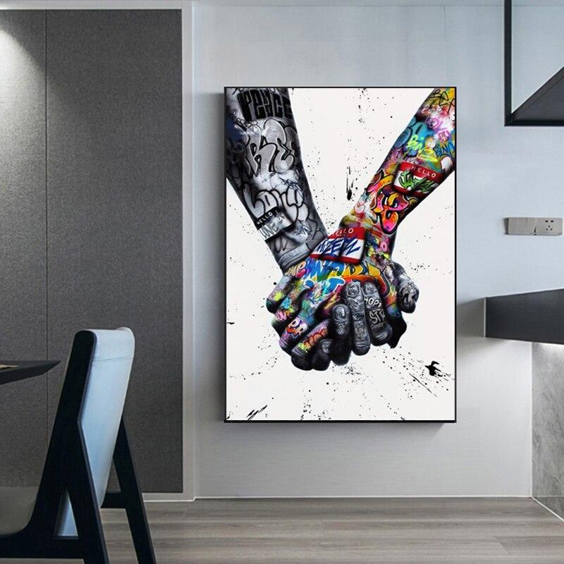 Sokak Graffiti sanat tuval boyama sevgilisi eller sanat duvar posterler ve baskılar dudak parfüm sanat resim oturma odası dekor için