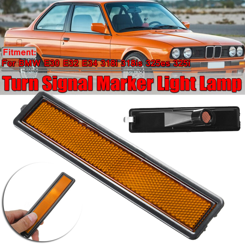 Car Side Left Right Rear <font><b>Bumper</b></font> Side Marker Light Lamp Lens For <font><b>BMW</b></font> <font><b>E30</b></font> E32 E34 318i 318is 325es 325i Side Turn Signal Light image