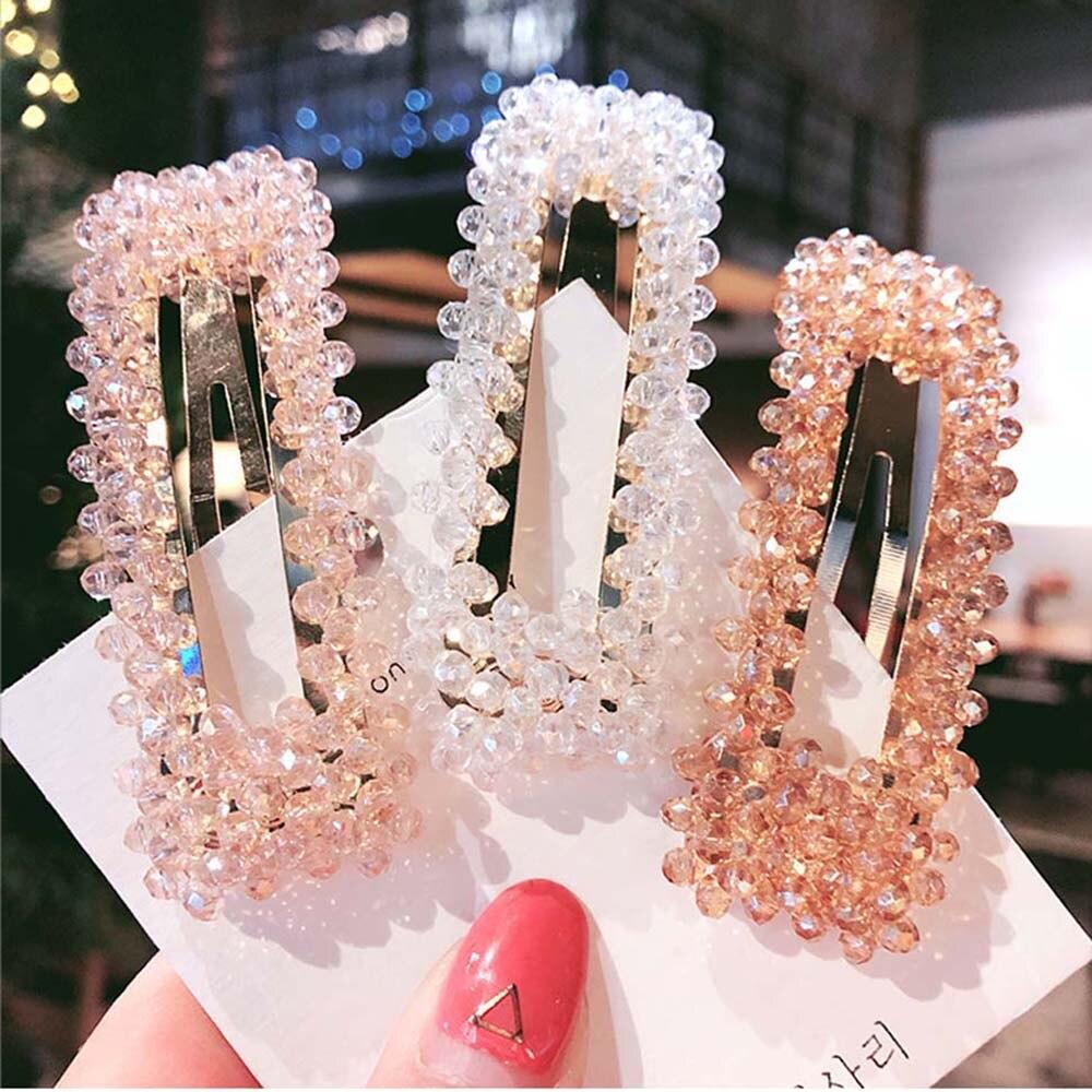 2019 Fashion Women Rhinestone Hair Clips Full Crystal Hairclip Metal Ponytail Holder Hairpins BB Hairgrip Girls Hair Accessories