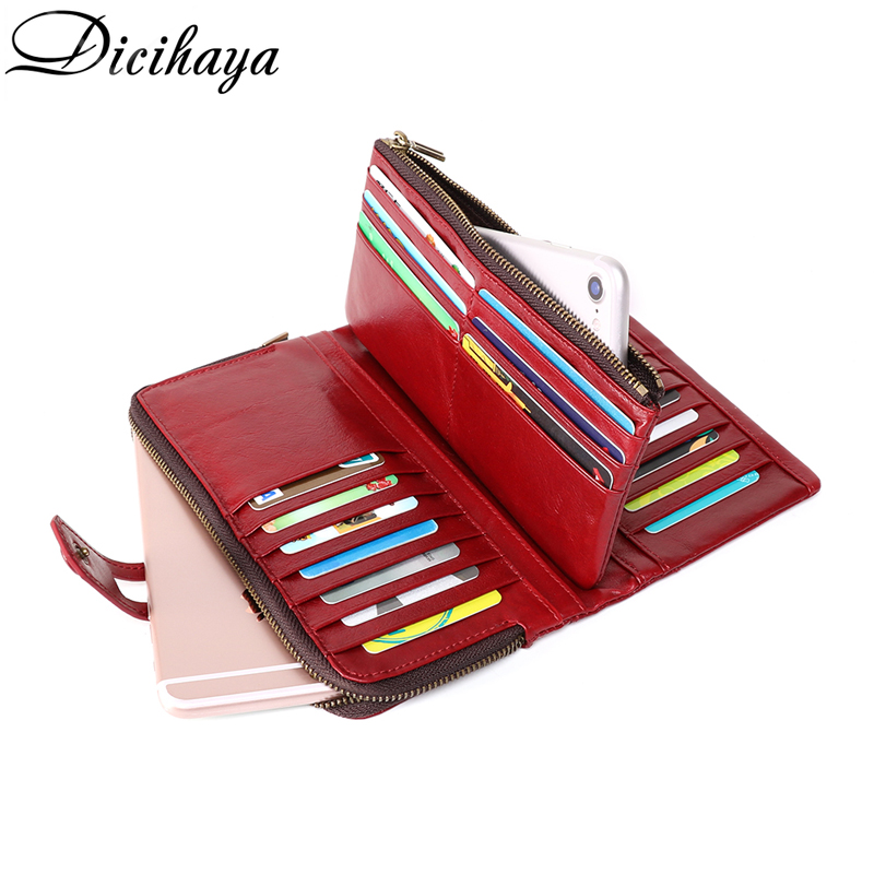 DICIHAYA High Quality Genuine Leather RFID Wallet Women Hasp Two Zipper Walets Female Purse Long Womens Wallets Ladies PHONE BAG