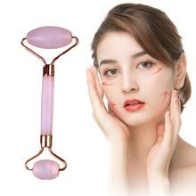 Массажный ролик для лица с двумя головками, Нефритовый камень, для подтяжки лица, для рук, шеи, для расслабления кожи тела, для похудения, для красоты, для здоровья, для ухода за кожей, инструменты