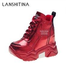 Зимние кроссовки на платформе; коллекция года; кожаная повседневная обувь на меху; обувь на скрытом массивном каблуке, визуально увеличивающая рост; сезон осень; женская теплая обувь на меху на высоком каблуке 9 см