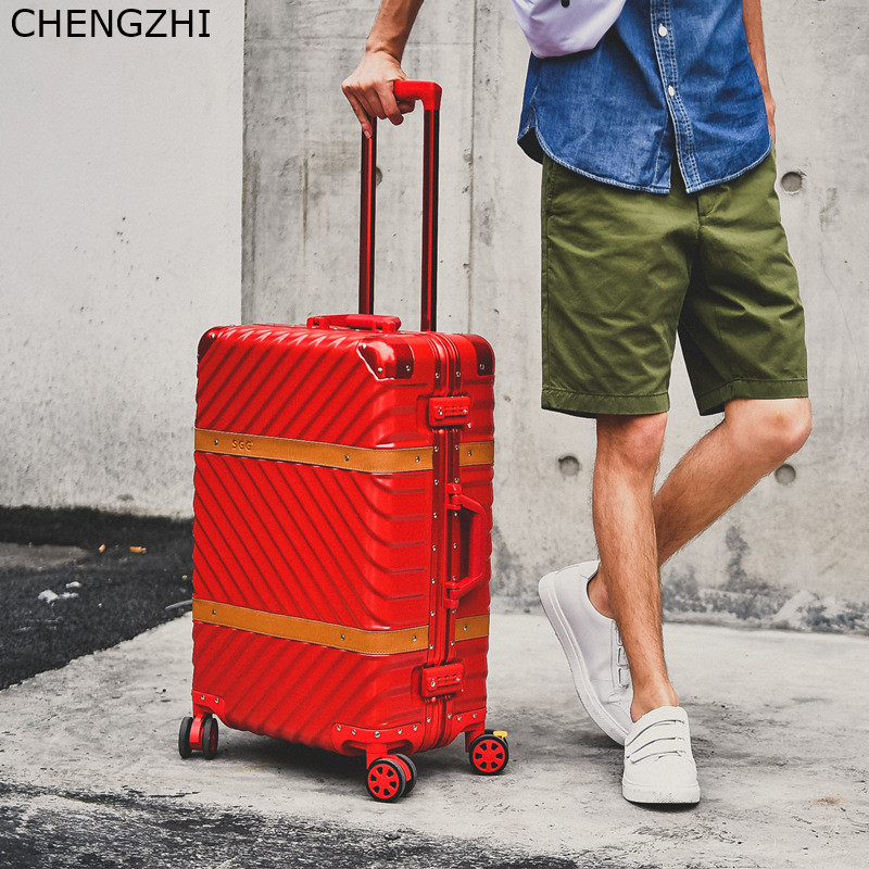 CHENGZHI Vintage Rolling luggage spinner suitcase wheels aluminum frame trolley travel bags men women carry on luggage