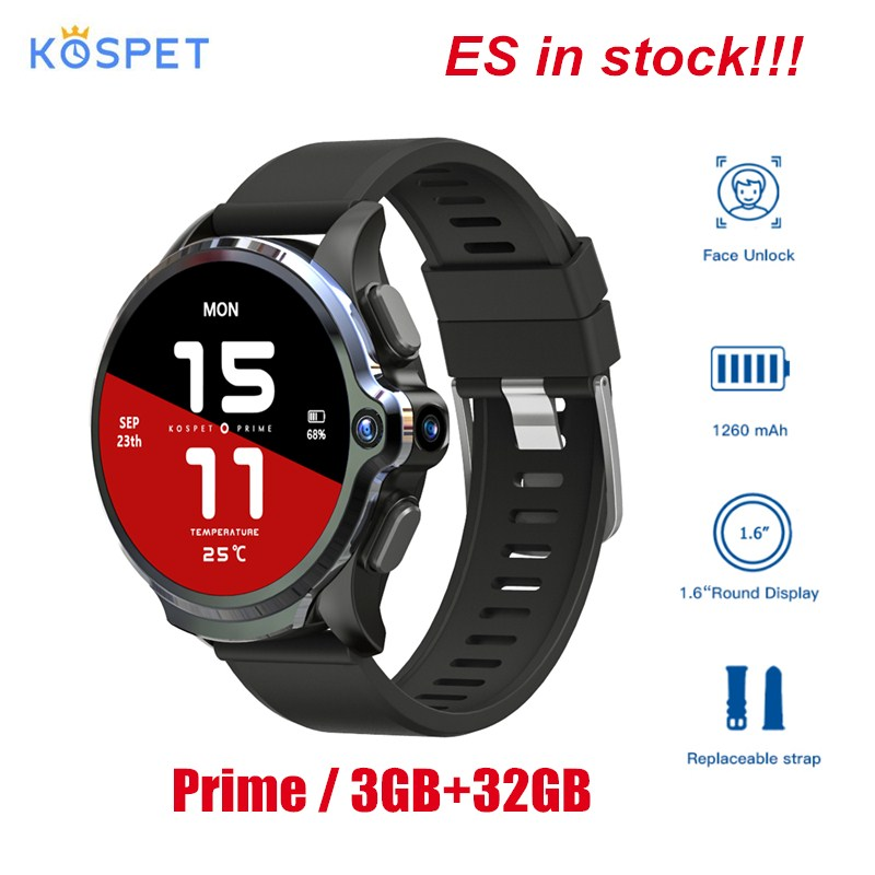 KOSPET Prime Face ID Dual Cameras 4G Smart Watch Phone GPS 1260mAh Battery 1.6'' 3GB 32GB Healthcare Sports Smart Watch