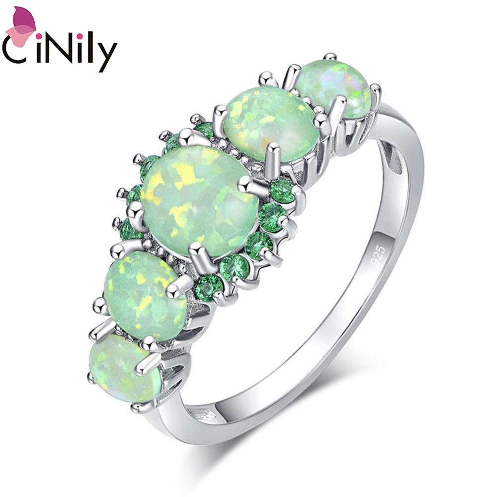 CiNily Lavish Green Fire Opal Big Stone Rings Silver Plated Zirconia Crystal Filled Ring Wedding Party Jewelry Women Size 11 12
