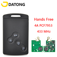 Datong World Car Remote Control Key For Renault Clio IV 2009 2015 Captur 2013 2017 4A Chip 433MHz HandsFree Promixity Card
