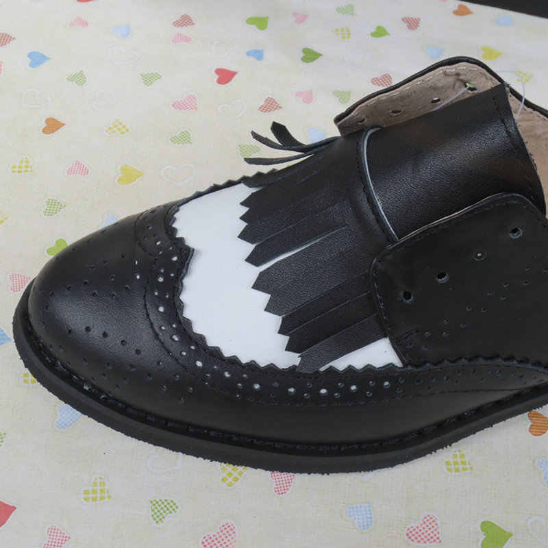 Zapatos Oxford Vintage para mujeres cabeza redonda hechizo Color negro blanco encaje-up Oxford zapatos Scarpe Oxford Chaussures ala punta Oxfords