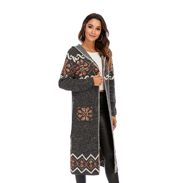 CGYY 2021 Womens Winter Fashion Casual Loose Sweater Female Autumn Spring Cardigan Single Breasted Puff Hooded Coat Plus Size 6