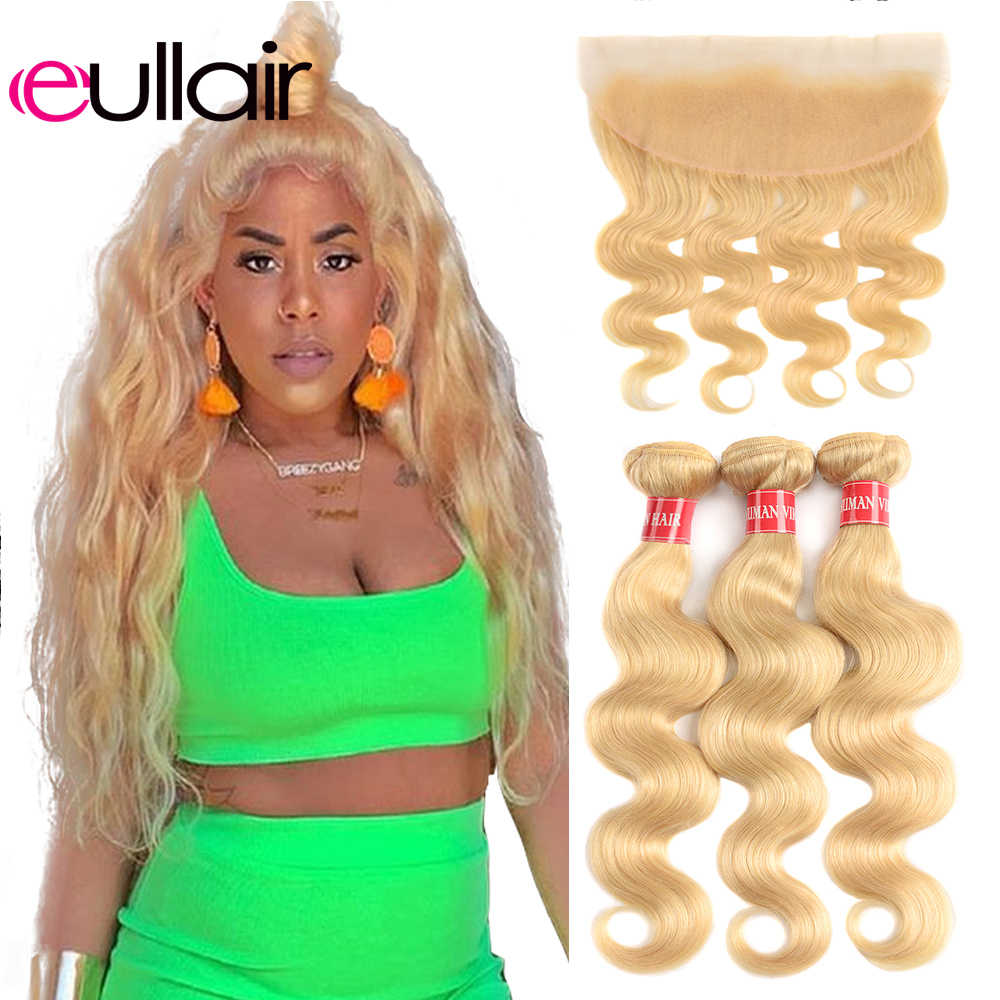 eullair Brazilian Body Wave 613 Hair Bundles with Frontal 3/4Pcs Remy Human Hair Weaves Blonde Bundles with Frontal 13*4 Lace