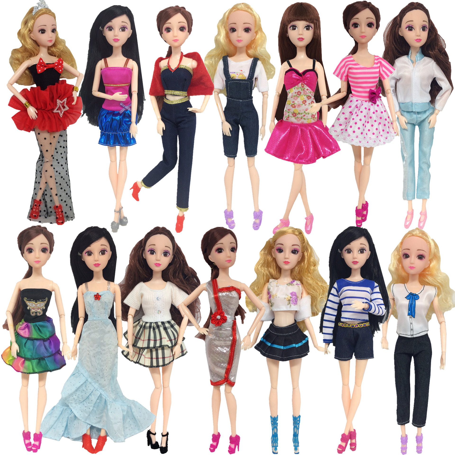 30cm BJD Doll Fashion Doll Clothes Joint Movement Body Handmade Gown Grid Skirt Daily Casual Suit Doll Accessories Toys For Girl