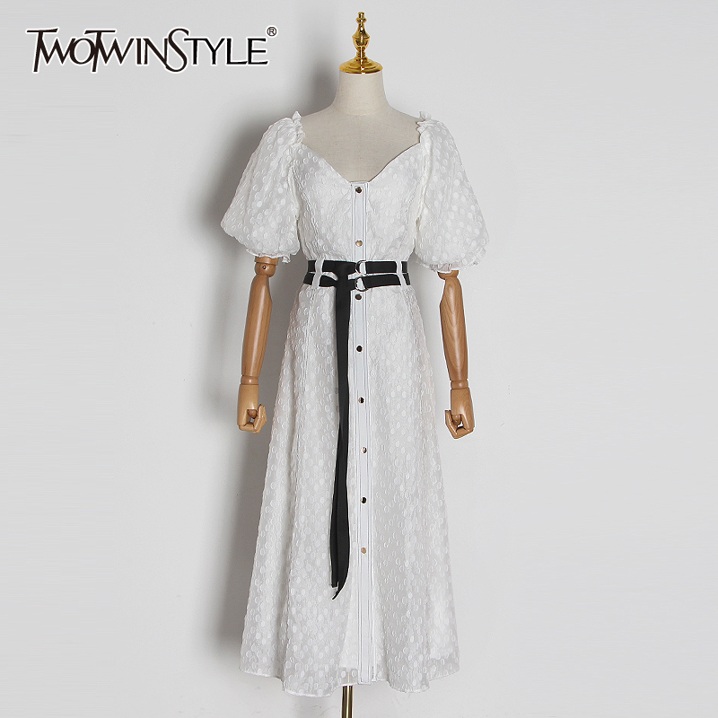 TWOTWINSTYLE Bohemian Patchwork Dot Dress For Women Square Collar Puff Sleeve High Waist Sashes Elegant Dresses Female 2020 New