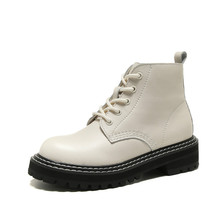 Europe Ankle Women Platform shoes Genuine Leather Lace-up British style Low-heel Round toe Women Casual Ladies Booties цена