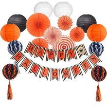 Diy Halloween Garland Spide Hanging Fringe Honeyball 12 Orange Set Paper Lantern Backdrop Decor