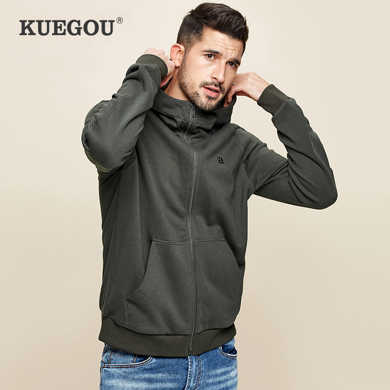 KUEGOU 2020 Spring 100% Cotton Black Plain Hoodie Men Hoody Sweatshirt Hip Hop Streetwear Male Fashion Clothes Plus Size 2288