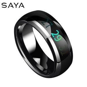 Умные вольфрамовые кольца с температурой, мужские кольца, меняющие цвет, кольцо для настроения, ручная бижутерия, бесплатная доставка, по ин...