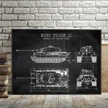 Tanque WW2 patente Vintage Posters e impresiones tanque alemán King Tiger 2 Blueprint arte lienzo pintura niños regalos pared arte Decoración