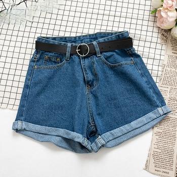 All Match Sashes Casual Women Denim Shorts Crimping High Waist Slim Summer Jeans Shorts Feminino Chic Hot Ladies Bottom 2