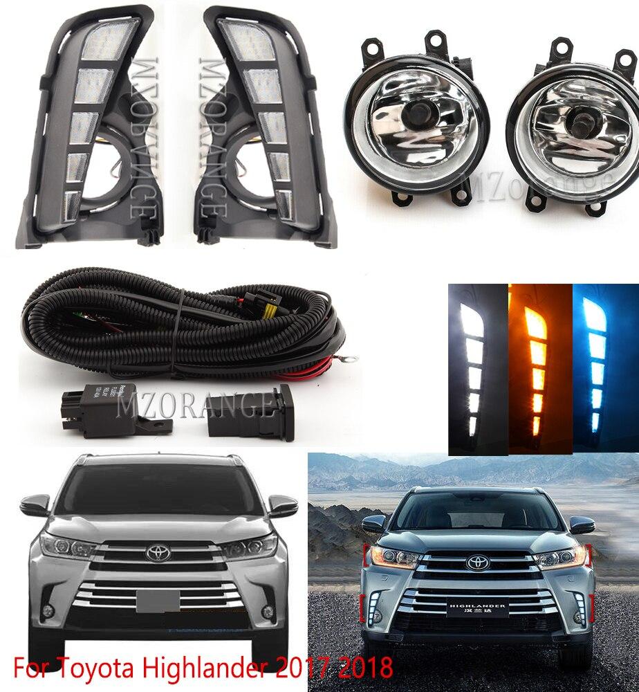 LED Daytime Running Light For Toyota Highlander 2017 2018 2019 Front Bumper Fog Light DRL Switch Wire Bezel Cover Frame