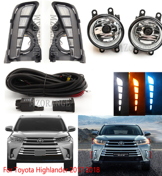 LED Daytime running light For Toyota Highlander 2017 2018 2019 Front Bumper Fog Light DRL Switch Wire Bezel cover frame фото