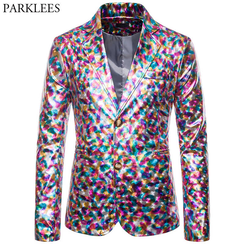 Colorful Bronzing Men Blazer Shiny Luxury Dress Blazers Men Slim Fit Fashion Mens Suit Jacket Party Stage Men blazer Masculino