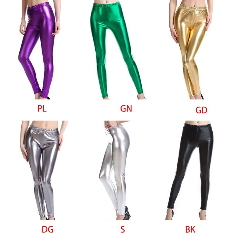 Womens Faux Leather  Mid Rise Shaping Hip Liquid Wet Look Glitter Metallic Pencil Pants Stretch Tights Clubwear