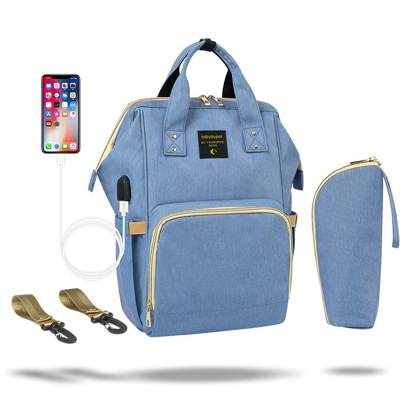 Fashion Diaper Bag Multi-function Large Capacity Mummy Maternity Bag USB Interface Backpack For Mom Waterproof Baby Stroller Bag