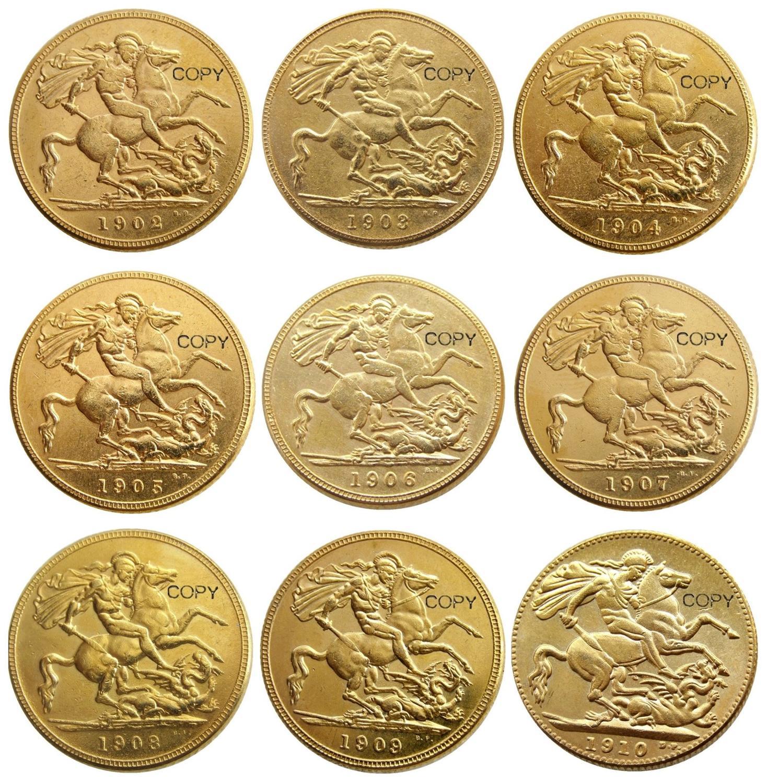 (1902-1910) 9 фиников для Chose KING EDWARD VII матовое покрытие позолота 1 SOVEREIGN (1LSD) копия монет